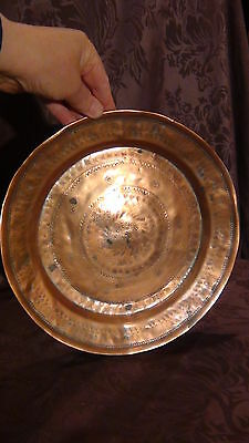 Antique 18C Islamic Arabic Copper  Ornamental Decorated Plate 2