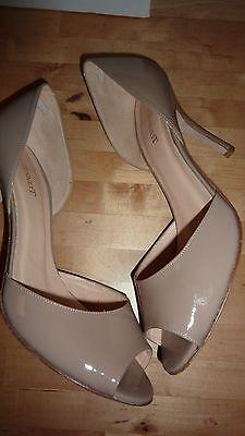 LK BENNETT UK 6 39 TAUPE Patent Beige Heels Peep Toe Courts Shoes LTD FAB RARE!! 8