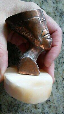 Vintage Antique Statue Sculpture Egyptian Queen Pharaoh Nefertiti Marble Base 7