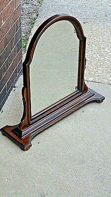 Antique Edwardian Walnut dresser chest pedestal Arched mirror 3