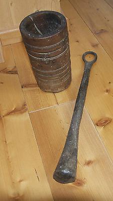 Antiker uralter Mörser Holz mit sehr schwerem EisenKlöppel  !!!RARITÄT!!!! 2