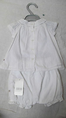 BNWT Baby Girls Mothercare White 100% Cotton Summer Top & Shorts set, 3-6m, £14 7