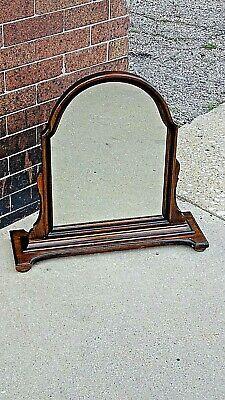 Antique Edwardian Walnut dresser chest pedestal Arched mirror 2