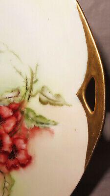 7960:Teller von KPM Carl Krister, um 1900,Goldrand, floral verziert,handbemalt. 4