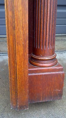 very nice oak mantle beveled mirror columns and carvings 6