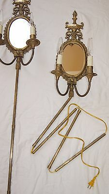 2 VTG VICTORIAN SHABBY CHIC BRASS MIRROR  SCONCES CHANDELIER WALL FIXTURE 1960's 4