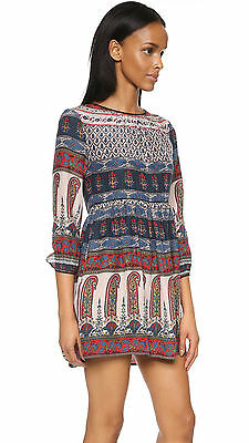 Anthropologie Cynthia Vincent Silk Paisley Print Lace Back