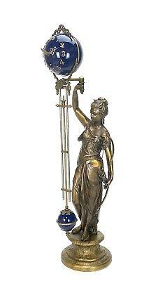 "Large Mystery Brass Lady Diana 8 Day 4"" Cobalt Blue Ball Swinging Clock 2"
