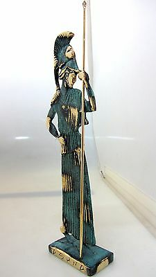 Ancient Greek Bronze Museum Statue Replica Athena Wth Helmet & Spear Collectable 2