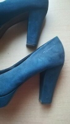 JOLIES CHAUSSURES BLEUES en croûte de cuir marque Tamaris