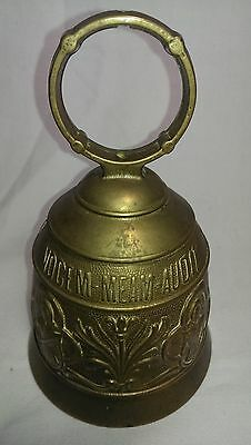 Qui Me Tangit Vocem Meam Audit Brass Bell Door Knocker Soldier with Spear Design 2