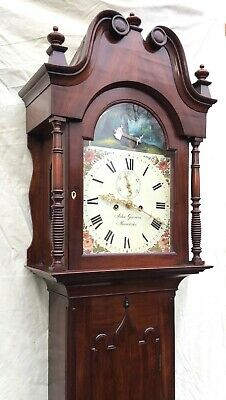 ~ Antique Mahogany ROCKING SEESAW Longcase Grandfather Clock GARMAN MEONSTOKE 5