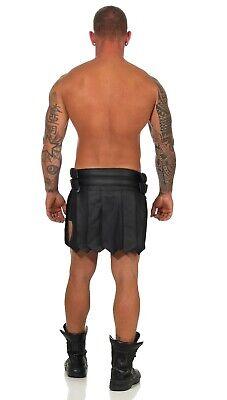 XS-XXXL*Gladiator Skirt Kilt Rock Schwarz Echt Leder 4 Schnallen & Gürtel NEU 9