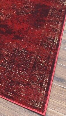 Burgundy Rug Classic Vintage Design Traditional Faded Distressed Ruby Red 7