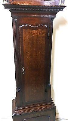 ~ Antique Brass 8 Day Oak & Mahogany Longcase Grandfather Clock WALKER NANTWICH 6