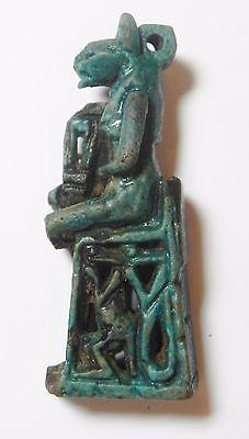 Zurqieh - Af2302- Ancient Egypt. Nice Large Faience Amulet Sechmet.  600 B.c