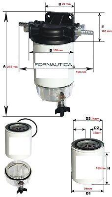Filtro Separatore Decantatore Acqua/Carburante Completo Per Fuoribordo Benzina 2