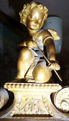 Beautiful Fireplace Clock Pendule Brass Bronze Fire-Gilded Antique Baroque 3