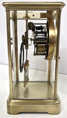 Antique Four Glass Brass Striking Bracket Mantel Clock Brass Japy Freres 7