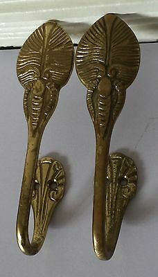 Metal Beetle Bug Design Wall Brass Hooks Hardware Set Of 2 Antique Highly Adorn 5