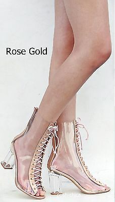 9298a543027d ... New Women FC45 Rose Gold Peep Toe Lucite Clear Heel Lace Up Booties  Ankle Boots 8