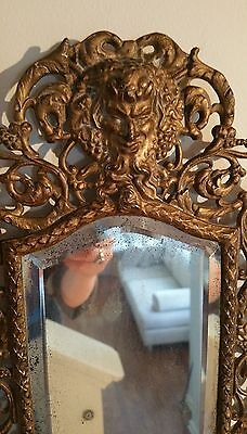 Antique France Style Gold Gilt wall Mirror with 2 Candle Sconces 3