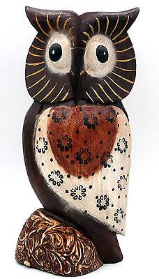Chouette hibou de collection en bois motif fleur déco ethnique 16,5 cm