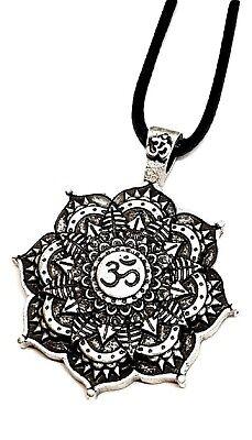 Lotus Flower Mandala Om Aum Silver Plated Buddhist NecklacesTantric Pendant Set