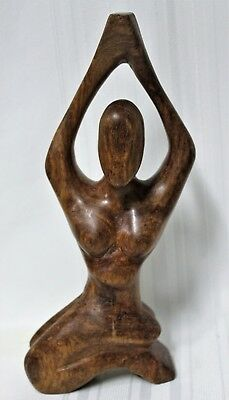2 Carved Wooden Yoga Pose Sculptures 2