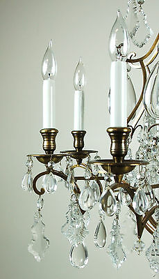 Magnificent Vintage French Style Crystal Pendalogue Tear Drop Prism Chandelier 5