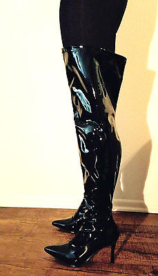 Black Thigh High Fetish Dominatrix Wide Width Calf Shaft Drag Queen Boots Heel W 2