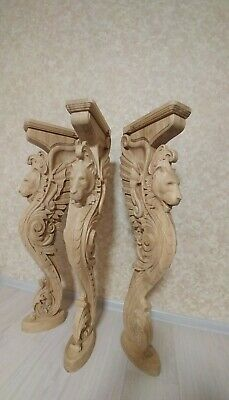 """38"""" Wooden stairs Baluster Newel, oak carved  gryphon statue, decorative element 2"""