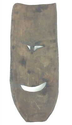 Vintage Antique Hand Carved Wooden Laughing Face Mask Wall Hanging Sculpture 2