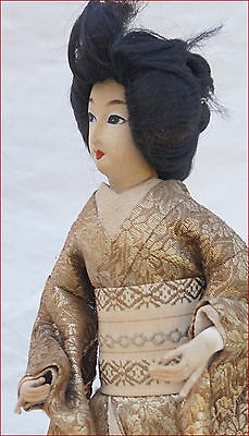 Japanese Geisha Doll Silk Gold Silver Metallic Thread Kimono 8