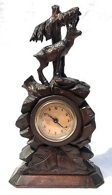 Antique Carved Ibex Black Forest Bracket / Mantel Clock 2