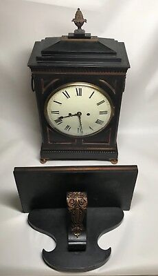Early 19th Century Ebony or Ebonized  Regency Fusee Bracket Clock with Bracket. 3