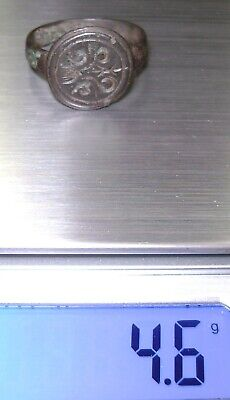 Ancient Rare Medieval bronze pseudo heraldry finger ring seal 9