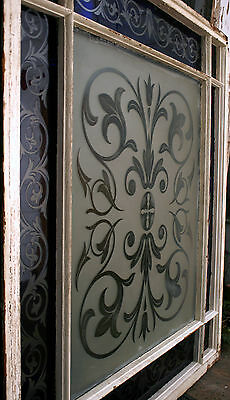 c1850 two glass window, cut glass to clear ruby, cobalt, clear, heart, tulip, 7' 9