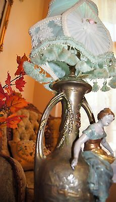 Antique Victorian Figural Peasant Girl  Lamp Chandelier Signed F. Morua France 8