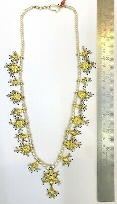 Vintage antique 20K Gold jewelry Diamond Polki Ruby Emerald Pearl Necklace 5