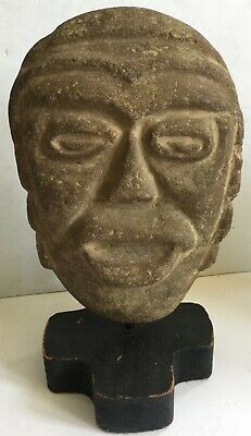Pre-Columbian  Large Carved Basalt Head -Old Important Estate Collection 12
