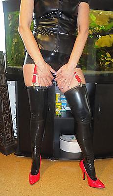 Latex Strümpfe  Gr. L Black Rubber Latexstrümpfe Schwarz Domina Fetish Gummi 4