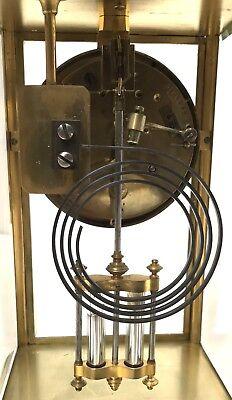 Antique Four Glass Brass Striking Bracket Mantel Clock Brass Japy Freres 10