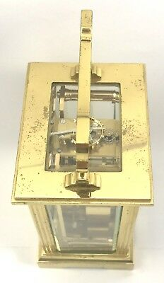 FRASER HART Brass Carriage Mantel Clock Timepiece with Key  Working Order 6