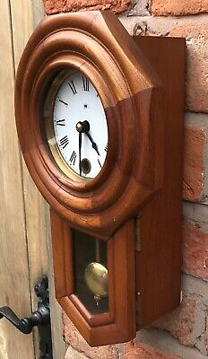 Beautiful Vintage Miniature Drop Dial Wall Clock In Wooden Case With Pendulum 5