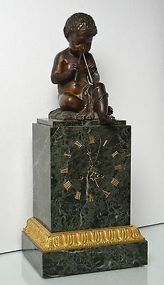 Antique 19th century French Figural Bronze & Marble Clock : Putto with Pipes 3