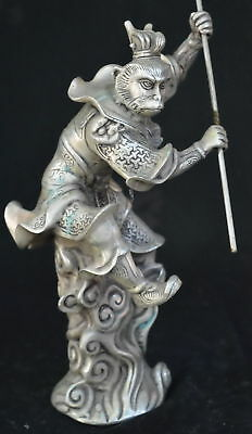 9.15Inch Chinese Ancient Tibet Silver Wear Robe Monkey King Gold Hoop Old Statue 4