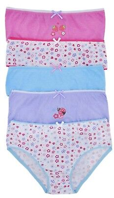 Girls 5 Pack Pairs Briefs Set Knickers Kids Multipack 100% Cotton Underwear Size 10
