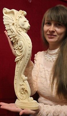Wooden stairs Baluster Decor, unique carved  gryphon statue, decorative element. 2