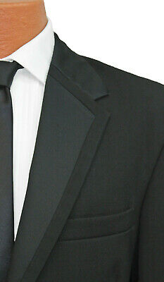 Perry Ellis Wool Black Tux Fashion Lapel Vail 2 Button Tuxedo Jacket w// Pants